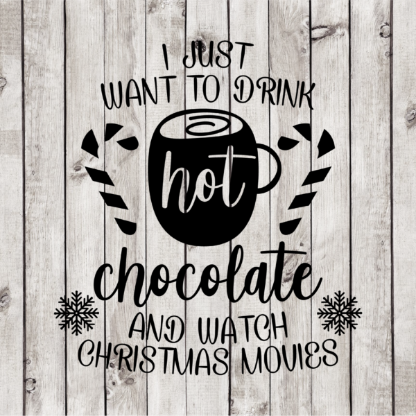Hot Chocolate and Christmas Movies Cut File