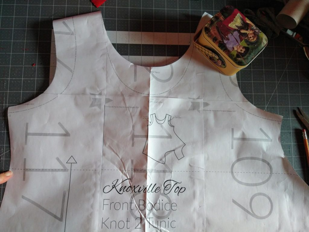 Knoxville front bodice lengthen line